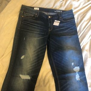 NWT Gap Distressed Real Straight Jeans 16 Tall